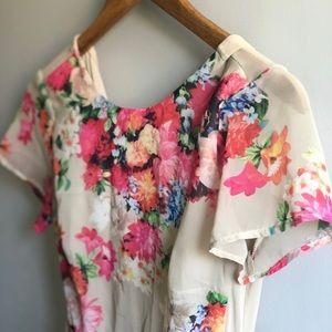Floral Mesh-back Mini Dress